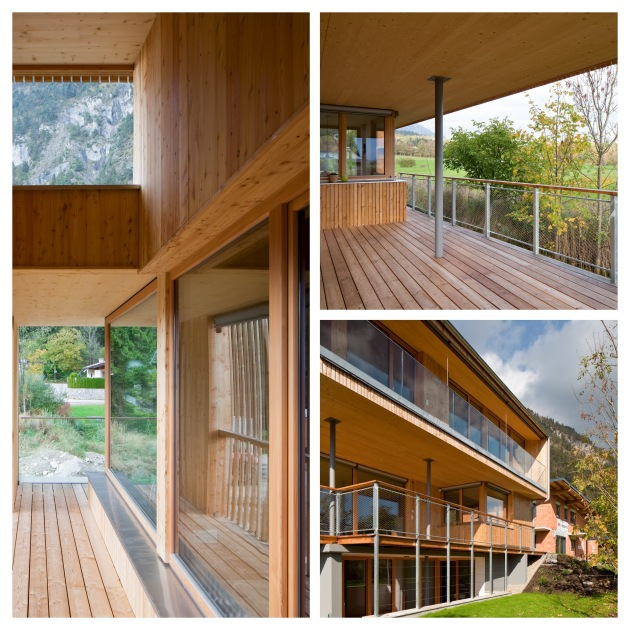 Ansichten eines modernen Holzhauses mit Terasse und Balkon